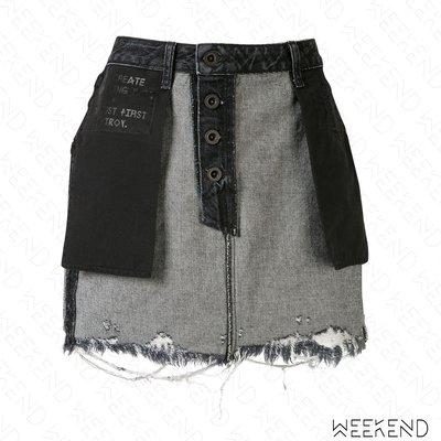 【WEEKEND】 UNRAVEL 反穿 特殊設計 不修邊 抽鬚 牛仔裙 迷你裙 黑色 20春夏