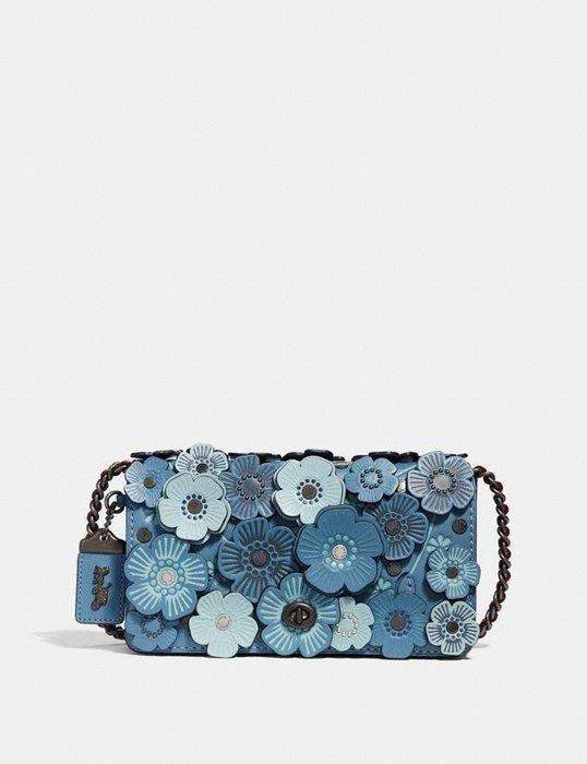 Coco小舖COACH 38197 TEA ROSE APPLIQUE DINKY  藍色系玫瑰立體貼花皮革斜背包