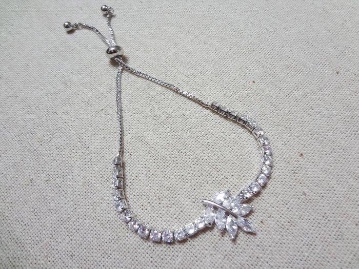 【Love Trina】8110-0218 亮鑽葉片可調式伸縮手鍊。可調式手鍊-(銀色)