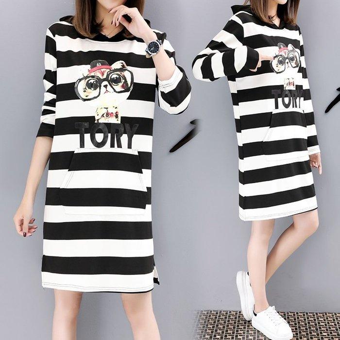 GOGO SHOP☆╭韓版新款 時尚印花條紋T恤 連帽T 長版T 連身裙【Y1580】M~5XL大碼水水女裝連帽衛衣