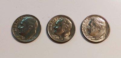 【觀天下‧郵幣天地】AD-101-美國老錢幣 ONE DIME  羅斯福總統1974 1979 1988 《 三枚一拍》