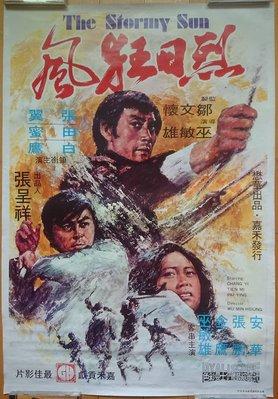 烈日狂風 (The Stormy Sun) - 張翼、田蜜、白鷹 - 香港原版手繪功夫武俠電影海報 (1973年)