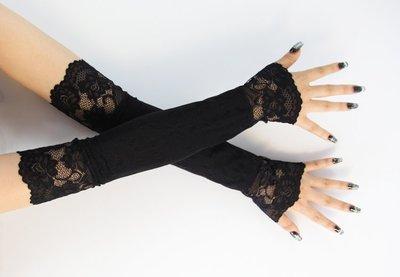 2018新全棉蕾絲中長款防曬防紫外線長手套過肘百搭臂套透氣薄套袖