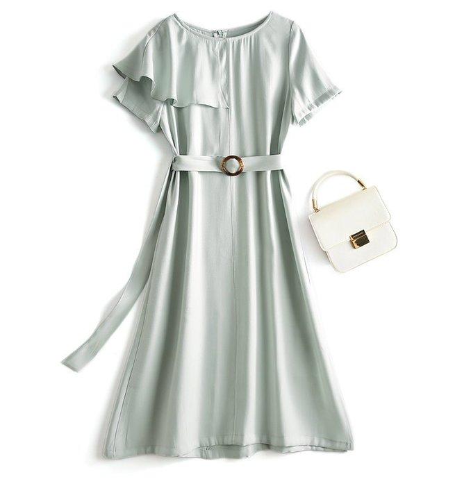 【木風小舖】微瑕!荷葉披風感設計 腰帶雪紡長洋裝*銀灰綠