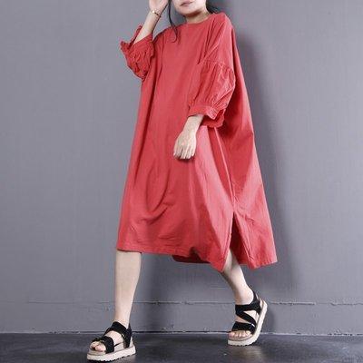 棉麻2018夏裝寬松品質針織棉拼接泡泡袖中長款連衣裙