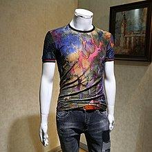 社會小伙短袖男修身夏季個性潮流色塊印花帥氣圓領T恤男半袖