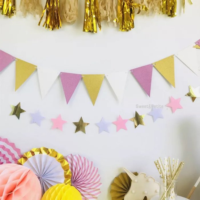 PR493❤三色組合雙面閃粉紙質三角旗❤ 生日派對 慶生 生日拍照道具 攝影佈置品 露營帳篷 裝飾彩旗 戶外野餐裝飾旗幟