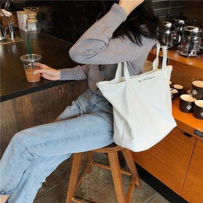 側背包 簡約 字母 手提包 帆布包 單肩包 環保購物袋【SPA219】