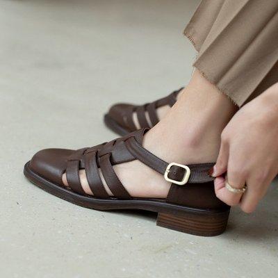 全真皮涼鞋 DANDT 英倫復古文藝牛皮鏤空涼鞋(21 MAY BSH) 同風格請在賣場搜尋 BLU 或 歐美女鞋