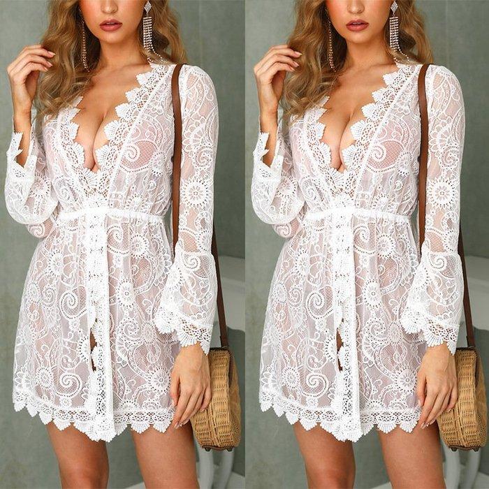 歐美新款時尚女裝 性感薄紗透明蕾絲泳裝罩衫外搭連身裙短裙洋裝 D261