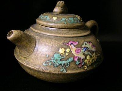 【山玉軒】 收藏品~《彩繪鳳凰》紫砂壺《【湯獅娣】》【特惠第一標】