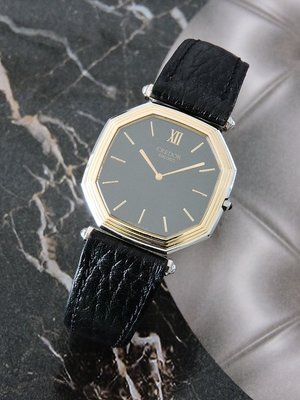 原裝真品 正14K半金 SEIKO CREDOR 貴朵 典藏超薄型(厚度4MM)格紋男錶 中性錶