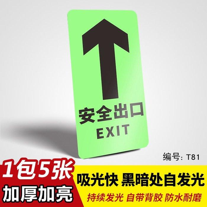 SX千貨鋪-夜光安全出口指示牌墻貼疏散口標志提示牌消防通道緊急標志牌自發光熒光小心臺階地滑地貼標識安全提示警示牌