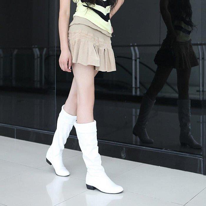 春秋新款韓版白色長靴女軟面皮平底高筒靴子馬丁單靴舞蹈40414243