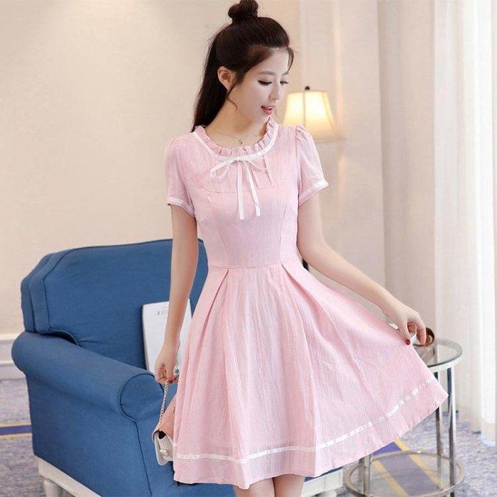 中大尺碼 夏裙連身裙海軍日系洋裝女夏裝原宿風 nm1666【FOLLOW ME】