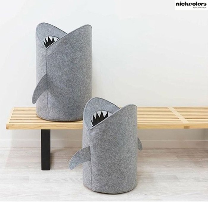 尼克卡樂斯~北歐風灰色鯊魚玩具收納桶 儲物籃 玩具收納籃 髒衣桶 髒衣袋 收納袋 衣物洗衣收納籃 小朋友收納