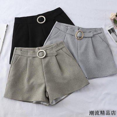 短褲女春裝新款韓版高腰顯瘦a字褲寬松闊腿褲外穿西裝褲子潮