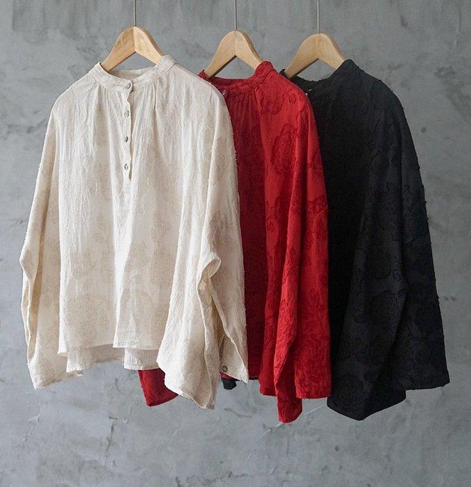 【子芸芳】棉麻提花寬鬆文藝襯衫復古文藝立領剪花上衣
