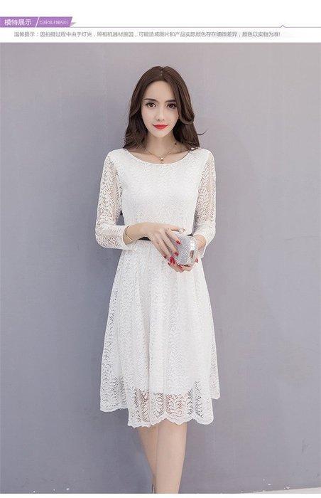 蕾絲雕花腰帶造型長洋裝(黑,白,粉,)