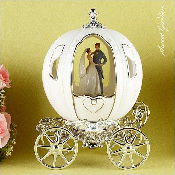 Sweet Garden, 陶瓷南瓜馬車音樂盒(免運) 結婚禮物 灰姑娘童話婚禮 浪漫新人 精緻鍍銀