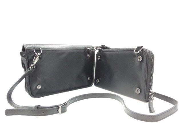 *迪奧小店*BONNIE小型-皮夾式斜背包側背包/二合一可分離式/牛皮尼龍/發燒貨勁爆價/時尚黑