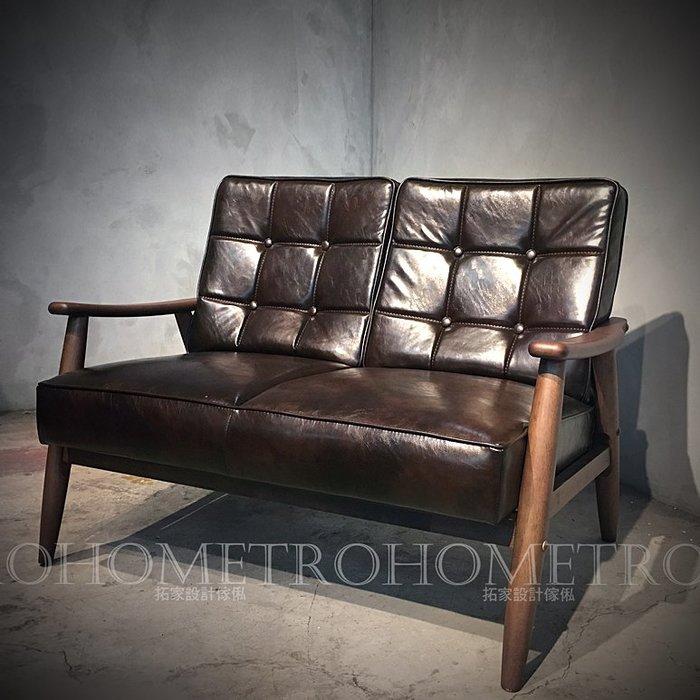 【拓家工業風家具】復古皮革實木把手沙發/LOFT懷舊電影風咖啡店民宿服飾店酒吧接待椅單人雙人三人沙發單人椅主人椅客廳組合