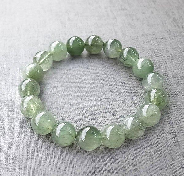 ☆采鑫天然寶石☆ **青陽**頂級天然綠髮晶(綠兔毛)圓珠手鍊~12mm~工作御守