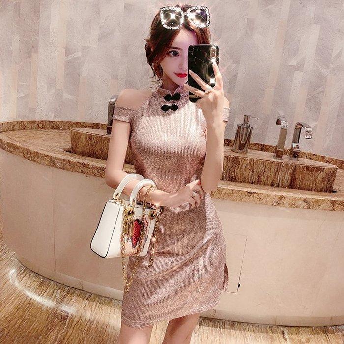復古中式2019新款小香風性感露肩開叉修身包臀燙金旗袍連身裙女裝