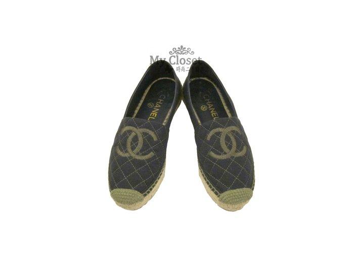 My Closet 二手名牌 CHANEL  2018 丹寧布 菱格紋 雙C logo 厚底鞋 鉛筆鞋