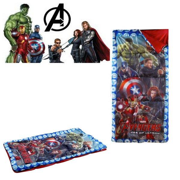 出口美國Avengers復仇者聯盟鋼鐵人、綠巨人、美國隊長四邊LOGO款睡袋+收納袋組(3歲以上適用)官網同步現貨供應…