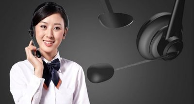 客服電話電腦板 頭戴式耳機 雙耳話務員專用線降噪,送耳機架)原價580 衝評價 299