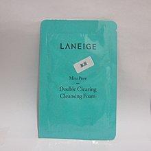 全新 Laneige Mini Pore Double Clearing Cleansing Foam 細緻毛孔深層潔淨泡沫試用裝 Sample