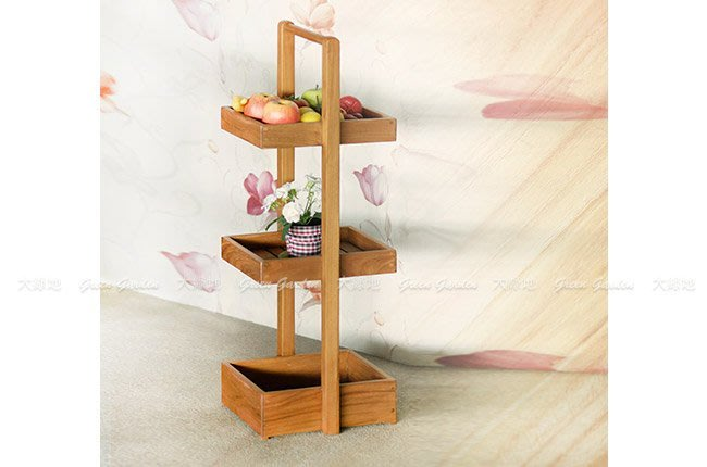 柚木 提籃式置物架(原色)【大綠地家具】100%印尼柚木實木/無上漆原木款/柚木置物架/柚木提籃