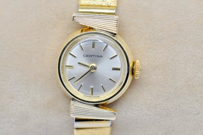 《寶萊精品》CERTINA 雪鐵納金白圓型手動女錶