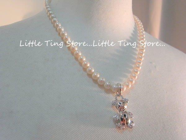 Little Ting Store:義大利古董珠寶VALENTINO (范倫鐵諾)貝殼珍珠鍊泰迪熊墜飾短項鍊鎖骨頸鍊