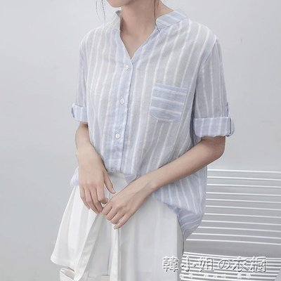 ZIHOPE A豎條紋棉麻襯衫新款寬鬆V領單排扣韓版學院風百搭短袖上衣女ZI812