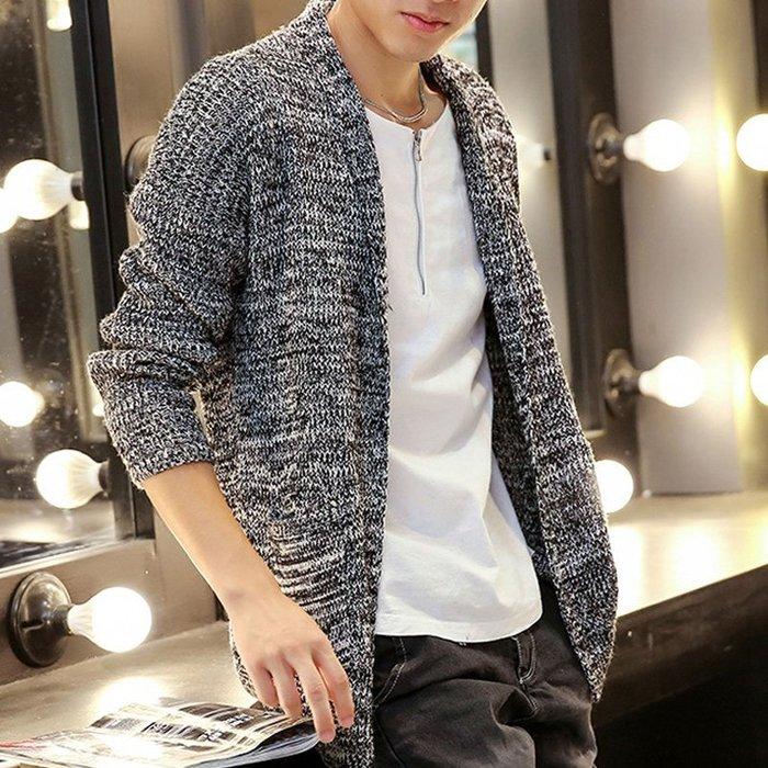 秋季中長款男式針織罩衫 男款 純色韓版修身披風 罩衫毛衣 【MC24】