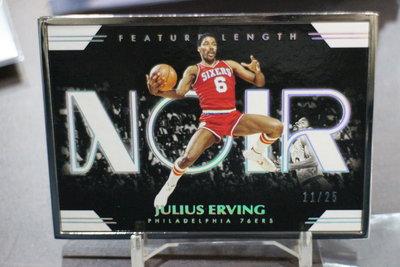 黑國寶SSP Julius Erving 極限量25張鐵框閃卡~2019-20 Noir Feature Length~