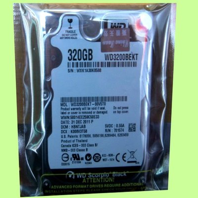 5Cgo【權宇】WD Scorpio Black 2.5吋 320GB SATA2 硬碟機 WD3200BEKT 含稅
