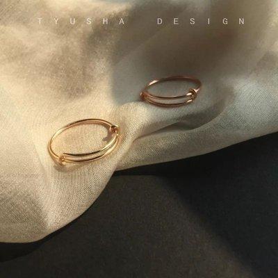 文玩飾品可調節 無敵簡約款14k包金純手工戒指 尾戒指環