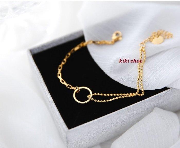 ♥kiki choc♥♥歐美系 *鈦鋼材質* 個性設計鏤空圈圈 不對稱珠珠雙層手鍊+O型立體手鍊手鏈手環手鐲