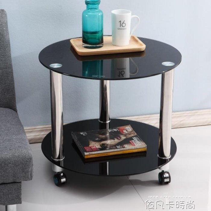 可行動茶幾帶輪小茶桌鋼化玻璃小圓桌簡約現代客廳圓形桌子多功能QM 《限時免運》