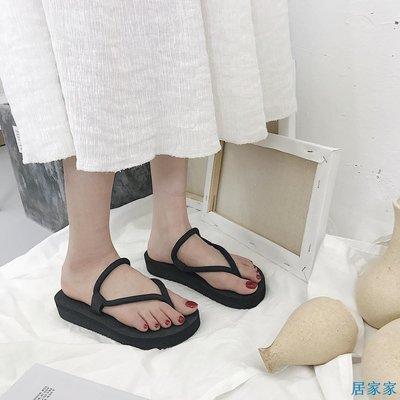 居家家  新款韓版涼拖鞋女夏時尚外穿學生羅馬平跟防滑平底沙灘人字拖