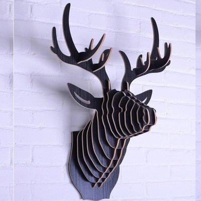 5Cgo【宅神】會員有優惠 18690476944 壁掛木質動物頭牆飾北歐壁飾牆面裝飾 服裝店牆上裝飾品 鹿頭-標準