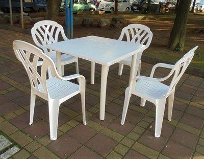 [兄弟牌休閒傢俱]白色塑膠格網高背椅4張+90cm塑膠方桌, 一桌四椅組*1,PP材質耐衝擊,台灣製造品質優 桃園市