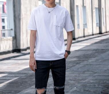 FINDSENSE MD 韓國 潮 男 時尚 純色 簡約 創意鈕扣裝飾 短袖T恤 特色短T 上衣 素面T