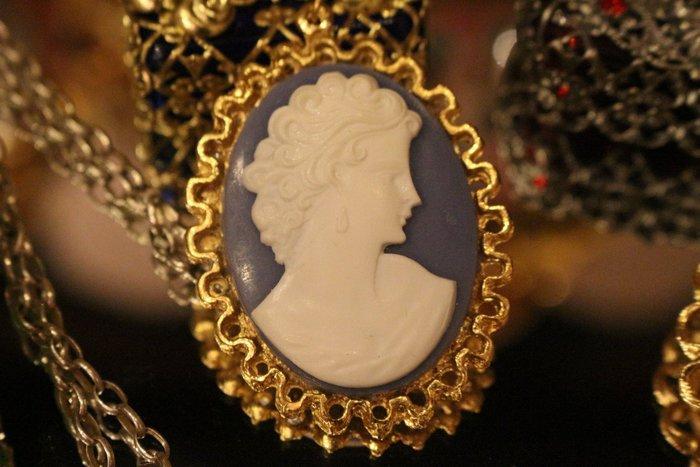 【家與收藏】賠售特價稀有珍藏歐洲古典法國優雅細緻CAMEO鑲嵌仕女浮雕銀項鍊4