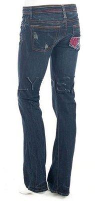 美國 New 575 Denim Bootcut Jeans 彩色車線貼布口袋刷洗牛仔褲 Sz 25