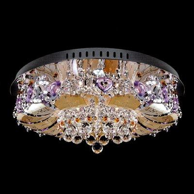 埃及奧地利不鏽鋼愛心茶玻璃圓球彩珠水晶燈E14-3燈+貼片LED-8燈附遙控器(琥珀色)TA95242