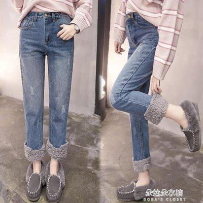 ZIHOPE 寬管褲羊羔毛翻邊寬管高腰加絨牛仔褲女秋冬季新款寬鬆捲邊直筒褲子ZI812